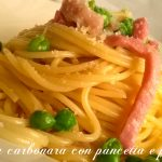 Finta carbonara con pancetta e piselli