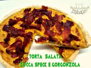 torta salata zucca, speck
